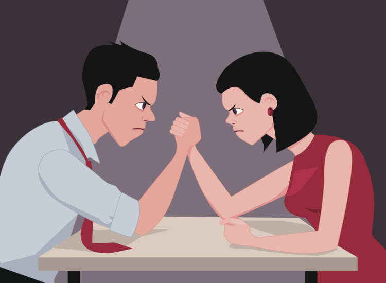 Man and woman arm wrestling, vector cartoon, no transparency
