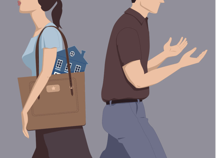 Man and woman walking away from each other, the woman taking a house in her purse, the man going empty-handed, vector illustration