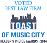 Toast of Music City: Reader's Choice Awards for Best Law Firm 2014