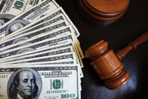 alimony payment and gavel